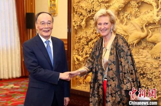 11月18日,中国国家副主席王岐山在北京中南海会见比利时国王代表、公主阿斯特里德。中新社记者 刘震 摄