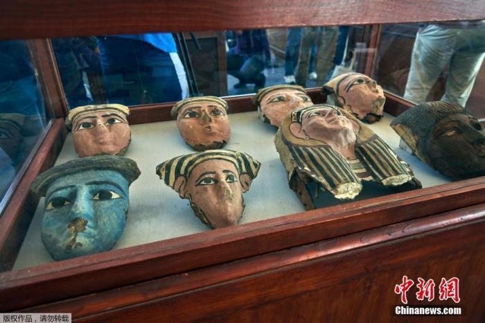 当地时间2019年11月23日,埃及吉萨,正在展出的文物。埃及文物部长哈立德·阿纳尼23日在首都开罗以南约30公里的塞加拉地区宣布,考古队在此发现包括幼狮在内的数十具动物木乃伊以及雕像等文物若干,距今已有约2700年历史。