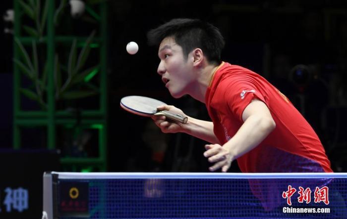 中国选手樊振东在比赛中。安源 摄