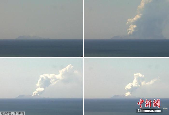 当地时间12月9日,新西兰丰盛湾怀特岛火山爆发,火山灰直冲云霄。