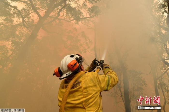 当地时间2019年12月10日,澳大利亚悉尼,新南威尔士州大火持续蔓延,悉尼上空烟雾弥漫,消防队员持续救援,以保护居民区免受森林大火的侵袭。