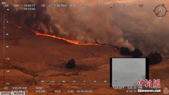 当地时间12月30日,航拍澳大利亚新南威尔士州埃勒斯里森林大火火势,火线在高温和强风的助长下迅速吞噬农田。