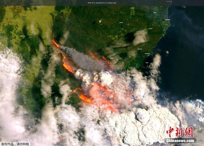 一幅克莱德山脉的卫星图像显示了澳大利亚野外森林大火的烟雾和火焰。