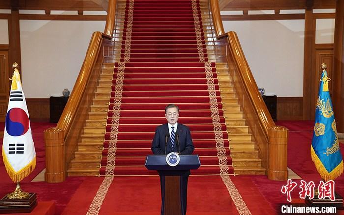 资料图片:韩国总统文在寅。 青瓦台供图