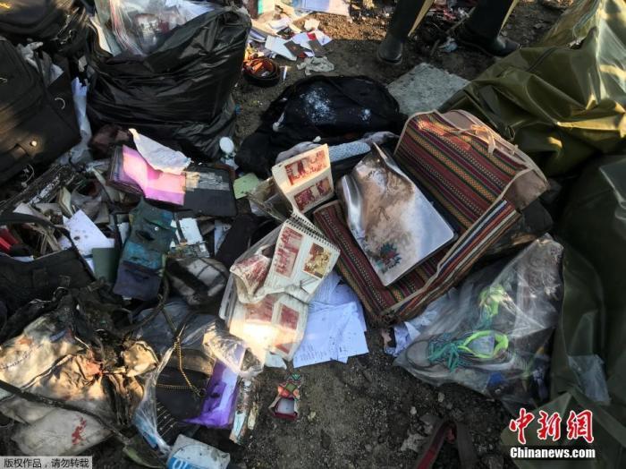 当地时间1月8日,原计划飞往基辅的乌克兰PS752航班从伊朗德黑兰霍梅尼国际机场起飞不久后坠毁,客机上人员全部遇难。图为救援人员在整理遇难者的物品。