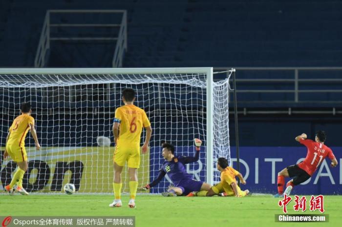 图为奥预赛首战韩国国奥绝杀中国国奥的破门瞬间。 图片来源:Osports全体育图片社