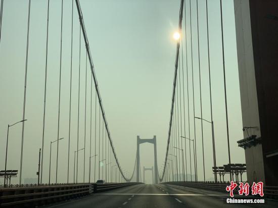 1月29日,武汉市鹦鹉洲长江大桥桥面上车辆寥寥。 中新社记者 杨程晨 摄