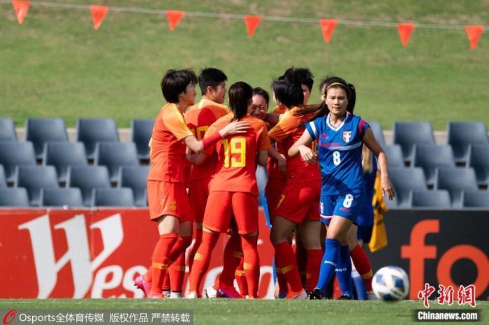 资料图:2020年2月份举办的女足奥预赛中,中国女足5:0大胜中国台北女足,提前一轮小组出线。图片来历:Osports全体育图片社