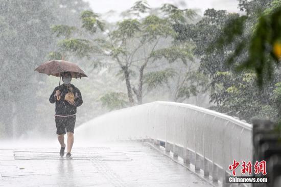 据广州市气象局数据,截至2月15日14时55分,广州受雷雨云团影响,全市普遍出现大到暴雨,部分地区伴有6-8级短时大风,9区发布暴雨预警。图为一名男子在雨中出行。/p中新社记者 陈骥旻 摄