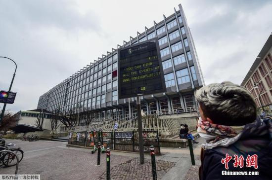 意大利政府宣布从3月5日起关闭全国所有学校,直至本月中旬。图为都灵的学校已经关闭。