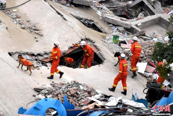 """3月8日下午,消防救援人员携带搜救犬在福建泉州欣佳快捷酒店坍塌事故现场搜救。据中国应急管理部发布的消息,福建省泉州市欣佳酒店""""3?7""""房屋坍塌事故现场共有71人被困(不含自救逃生的9人)。截至3月8日18时,已救出49人(其中10人死亡),现场人员正在紧张搜救余下的22人。张斌 摄"""