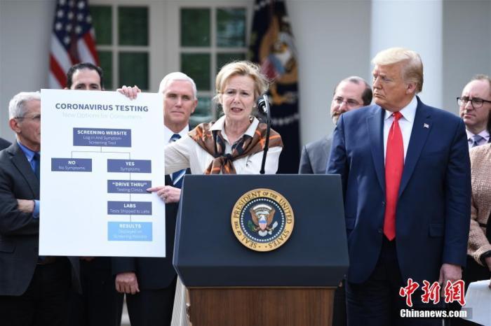 """资料图:当地时间3月13日,美国总统特朗普在白宫宣布""""国家紧急状态"""",应对新冠肺炎疫情。记者 陈孟统 摄"""