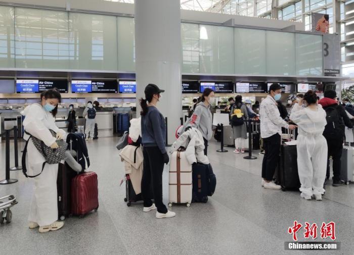 资料图:前往中国的乘客采取严密防护措施,在美国旧金山国际机场排队办理登机手续。<a target='_blank' href='http://www.chinanews.com/'>中新社</a>记者 刘关关 摄