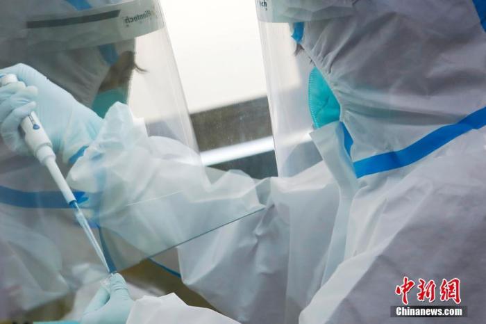 资料图:上海兰卫医学检验所工作人员正在对送来的样本进行核酸检测。 殷立勤 摄