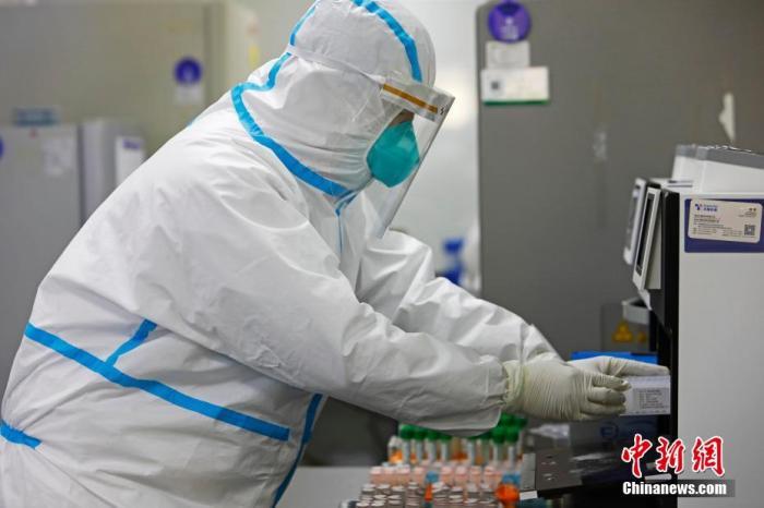 """4月30日,上海蘭衛醫學檢驗所工作人員正在對送來的樣本進行核酸檢測。在這里,每天都需要進行800至900個樣本檢測。上海市衛健委新聞發言人鄭錦30日披露,目前,上海進入常態化新冠肺炎疫情防控狀態,將進一步完善""""外防輸入、內防反彈""""各項措施;針對關鍵環節和風險點,采取更有針對性和時效性的工作措施,健全及時發現、快速處置、精準管控、有效救治的常態化防控機制。上海市衛健委還將加快推進醫療機構核酸檢測能力建設,要求二級以上綜合性醫療機構盡快具備新冠病毒檢測能力,并分批開展核酸檢測服務。同時,上海將加快疾控機構核酸檢測能力建設。圖為上海蘭衛醫學檢驗所工作人員正在對送來的樣本進行核酸檢測。 殷立勤 攝"""