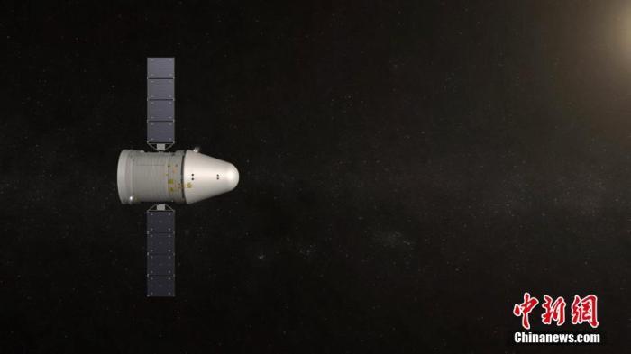 新一代载人飞船试验船于5月5日18时从中国文昌航天发射场发射升空,在轨飞行2天19小时,完成了多项空间科学实验和技术试验,验证了新一代载人飞船高速再入返回防热、控制、群伞回收及部分重复使用等关键技术。(模拟图)中国空间技术研究院 供图