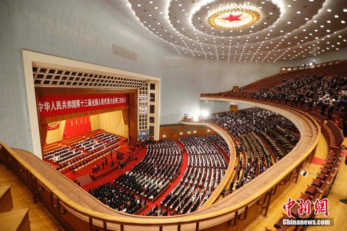 5月22日,第十三届全国人民代表大会第三次会议在北京人民大会堂开幕。 中新社记者 韩海丹 摄