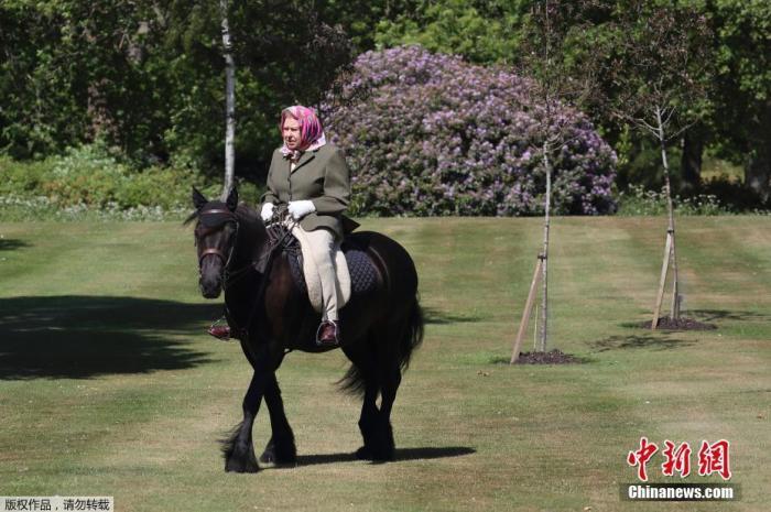 资料图:当地时间5月31日,英国王室发布英国女王伊丽莎白二世在行宫温莎城堡户外骑马的照片。据悉,受新冠疫情影响,英国女王伊丽莎白二世过去数月一直在行宫温莎城堡居住。