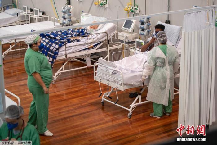 资料图:巴西最大城市圣保罗郊区的方舱医院。