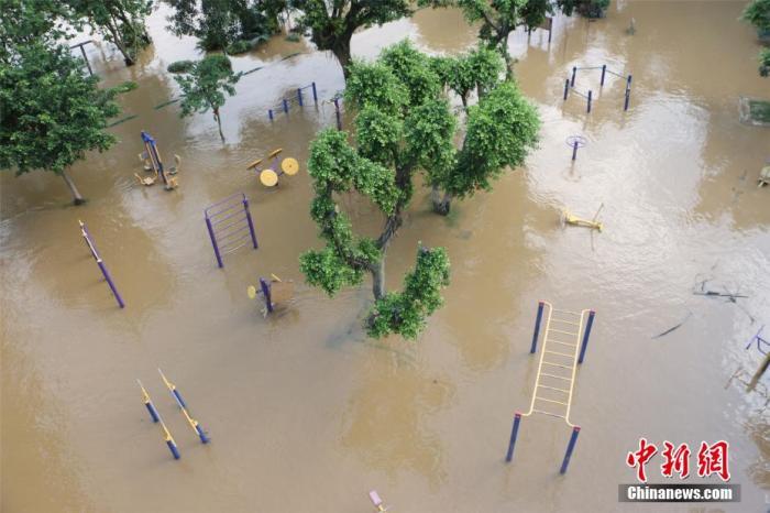 资料图:6月11日,广西柳江柳州市区河段洪水复涨,迎来本月第三轮超警戒水位洪峰。林馨 摄