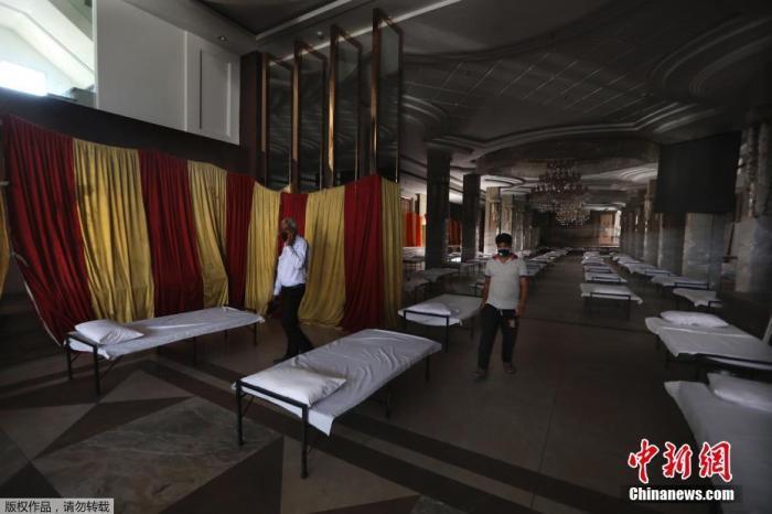 当地时间6月15日,印度新德里,宴会厅被改造为临时医院。