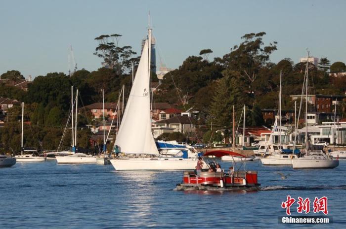 当地时间6月20日,澳大利亚悉尼市风和日丽,民众利用周末在帕拉马塔河(Parramatta River)享受水上游乐时光。图为民众在悉尼港练习帆船。 <a target='_blank' href='http://www.chifinland.cn/'>中新社</a>记者 陶社兰 摄