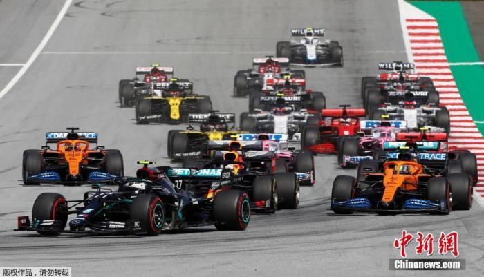 资料图:F1比赛中,选手们在发车后抢占身位。