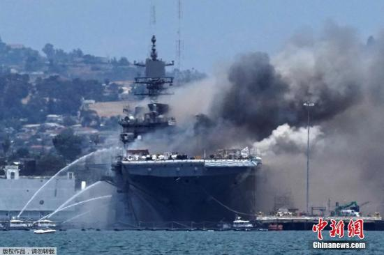 Blaze continues on U.S. Navy ship in San Diego for third day