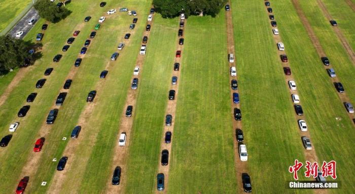 当地时间7月15日,美国佛罗里达州,当地人开车排长队等待接受新冠病毒检测。 图片来源:视觉中国