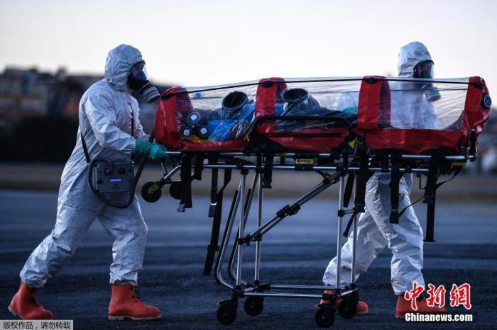 """当地时间2020年7月22日,巴西米纳斯吉拉斯州贝洛奥里藏特潘普利亚机场,当地军事部队成员身穿防护装备,演练使用""""气泡担架""""运送新冠肺炎患者。该设备可用于飞机和救护车运送病人,除起到隔离病人的作用外,还能过滤病人呼出的空气。"""