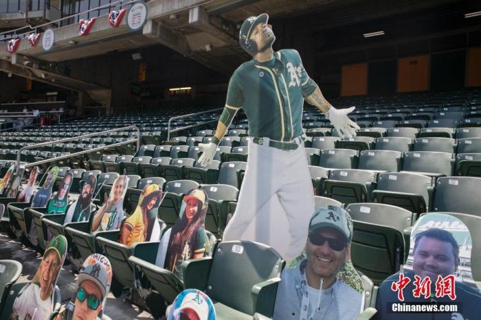 当地时间7月25日,美国职业棒球大联盟奥克兰运动家队在奥克兰体育场主场迎战洛杉矶天使队,印有球迷照片的纸板人现身看台。