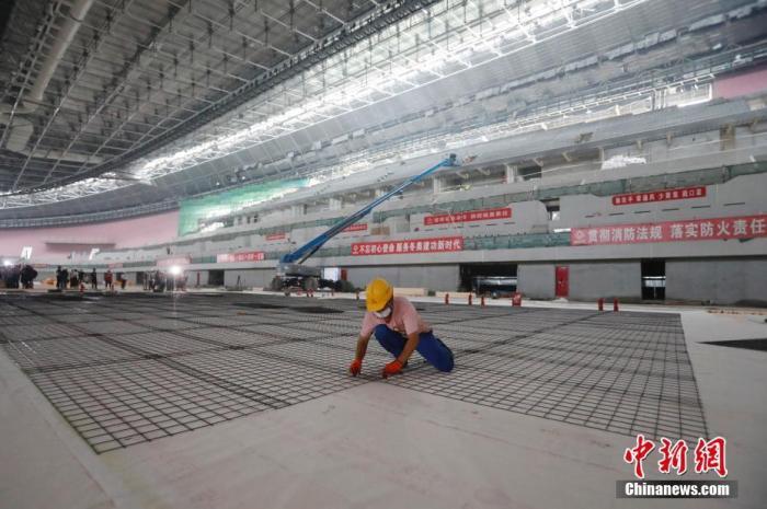 国家速滑馆施工现场。中新社记者 韩海丹 摄
