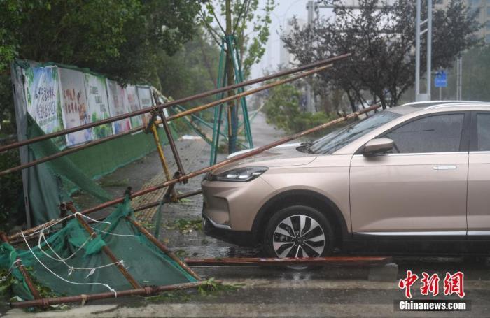 """资料图:8月4日,一辆小轿车压在被台风吹倒的施工脚手架下。当日,今年第4号台风""""黑格比""""在浙江乐清登陆,疾风骤雨之下,乐清众多城市设施严重损毁。 中新社记者 王刚 摄"""