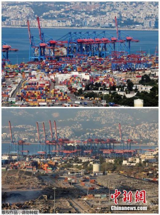 组合图片展示了2019年8月22日黎巴嫩贝鲁特港口和2020年8月5日爆炸后的景象。