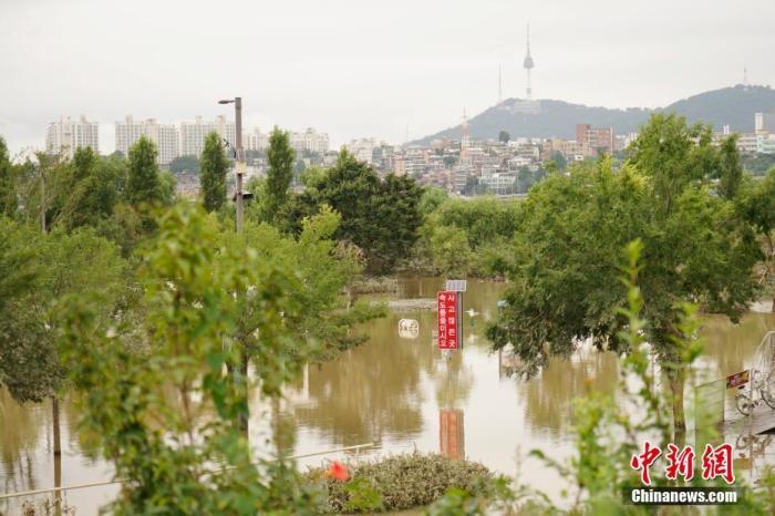 8月8日,首爾盤浦漢江公園內,多處步道、車道、停車場等被淹。連日暴雨致韓國首爾漢江水位猛增,附近部分道路、公園被淹。<a target='_blank' href='http://www.967366.tw/'>中新社</a>記者 曾鼐 攝
