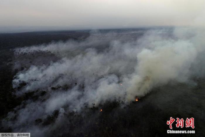 资料图:亚马孙河州阿普伊附近,伐木者和农民用大火清理了一片亚马逊雨林。