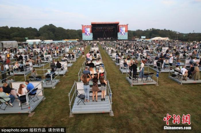 当地时间8月12日,英国纽卡斯尔,歌迷参加山姆芬德的音乐会。音乐会在露天草坪上举行,歌迷们五人一组,坐在被围栏分割成的500个格子里,每个格子保持两米社交距离。图片来源:Sipaphoto 版权作品 请勿转载