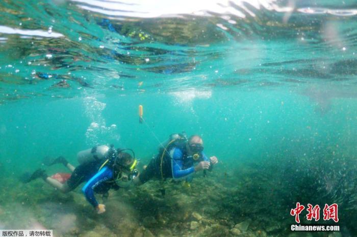 近日,以色列凯撒利亚,29岁的截瘫潜水员Saeed Darawsheh在凯撒利亚海岸附近潜水并清理海中的塑料垃圾。图为Saeed Darawsheh与潜水教练一起在海中潜水。