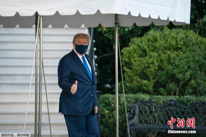 美国总统特朗普离开医院返回白宫图片