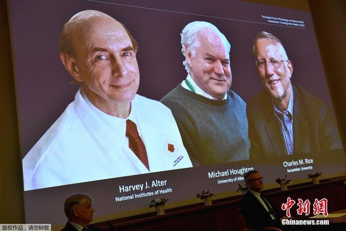 瑞典卡罗琳医学院5日宣布,将2020年诺贝尔生理学或医学奖授予美国科学家哈维阿尔特、查尔斯赖斯以及英国科学家迈克尔霍顿,以表彰他们在发现丙型肝炎病毒方面所做出的贡献。