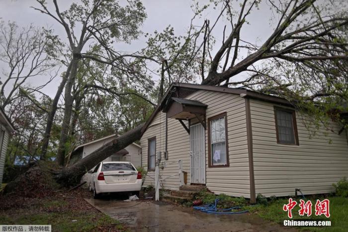 """资料图:当地时间10月10日,美国路易斯安那州查尔斯湖的居民,遭受另一场飓风""""德尔塔""""袭击,树木倒塌压在房屋上,不少居民选择撤离。"""