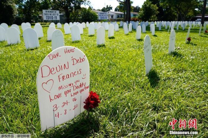 资料图:当地时间10月14日,美国迈阿密自由城附近的西蒙霍夫花卉公园摆满墓碑形的白色塑料牌纪念新冠逝者,人们在塑料牌上的留言引人泪目。