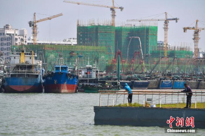 """资料图:台风""""沙德尔""""来袭,海南渔船回港避风。 中新社记者 骆云飞 摄"""