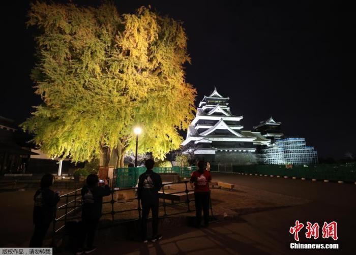 当地时间2020年11月16日,日本熊本县,熊本城测试亮灯,这是熊本城2016年发生地震后首次开放夜景。据悉,此次熊本城夜景开放将从11月20日一直持续至12月6日。