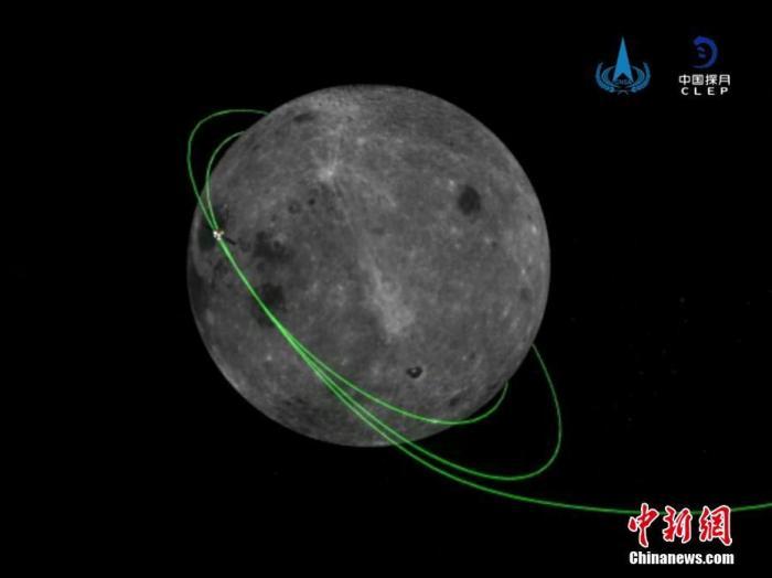 北京时间12月6日12时35分,嫦娥五号轨道器和返回器组相符体与上升器成功别离,进入环月期待阶段,准备择机返回地球。图为别离后轨返组相符体轨道模拟图。国家航天局供图
