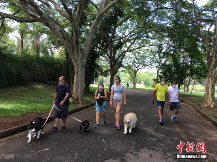 资料图:当地时间12月21日,巴西圣保罗,市民戴着口罩在当地一公园遛狗。 中新社记者 莫成雄 摄