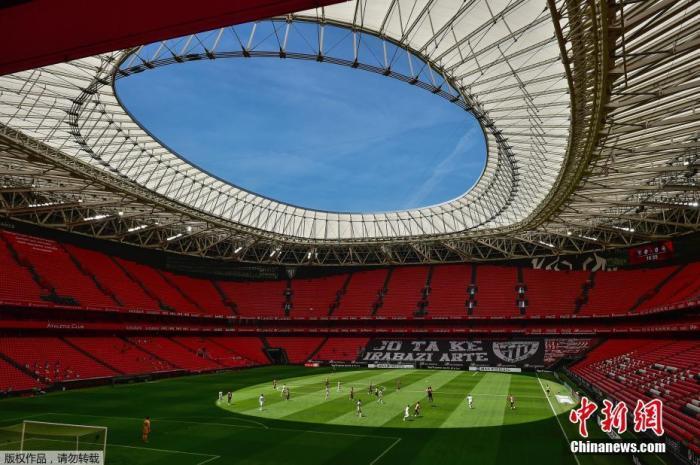 7月5日,西班牙毕尔巴鄂,西班牙足球甲级联赛马德里竞技对阵皇家马德里的比赛在圣马内斯体育场空场进行。Alvaro Barrientos