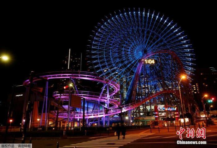 当地时间2021年1月8日,日本神奈川县横滨市,一座游乐园前行人稀少。