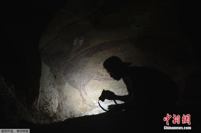 当地时间2021年1月14日,印度尼西亚苏拉威西,考古学家在当地最古老的一处洞穴内发现了一幅最早可追溯到4.5万多年前的壁画,上面绘制着野猪画像。对此,澳大利亚格利菲斯大学科考团队表示,这是迄今为止发现的世界上最早的洞穴壁画。