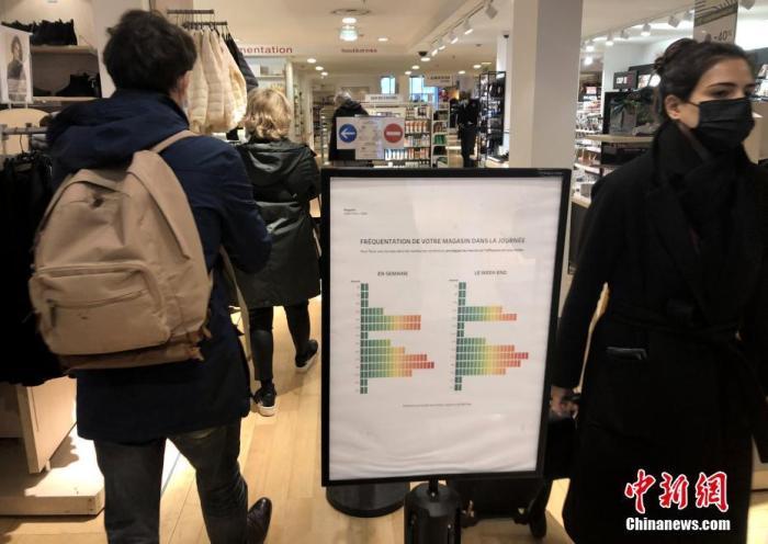 当地时间2月1日,在法国巴黎市中心一家严格遵守防疫规定的超市,告示牌标明每日营业时间的顾客流量。为防控疫情,法国购物场所自2月1日起实行加强限制人流、强化购物安全距离等防疫措施。 中新社记者 李洋 摄